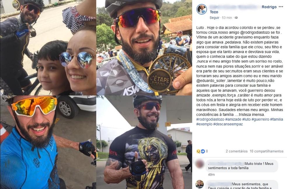 Amiga lamenta morte de ciclista — Foto: Reprodução/ Facebook