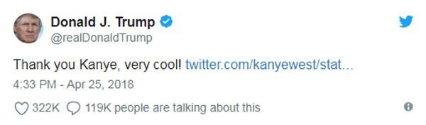 Resposta de Trump ao amigo rapper (Foto: Reprodução/Twitter)
