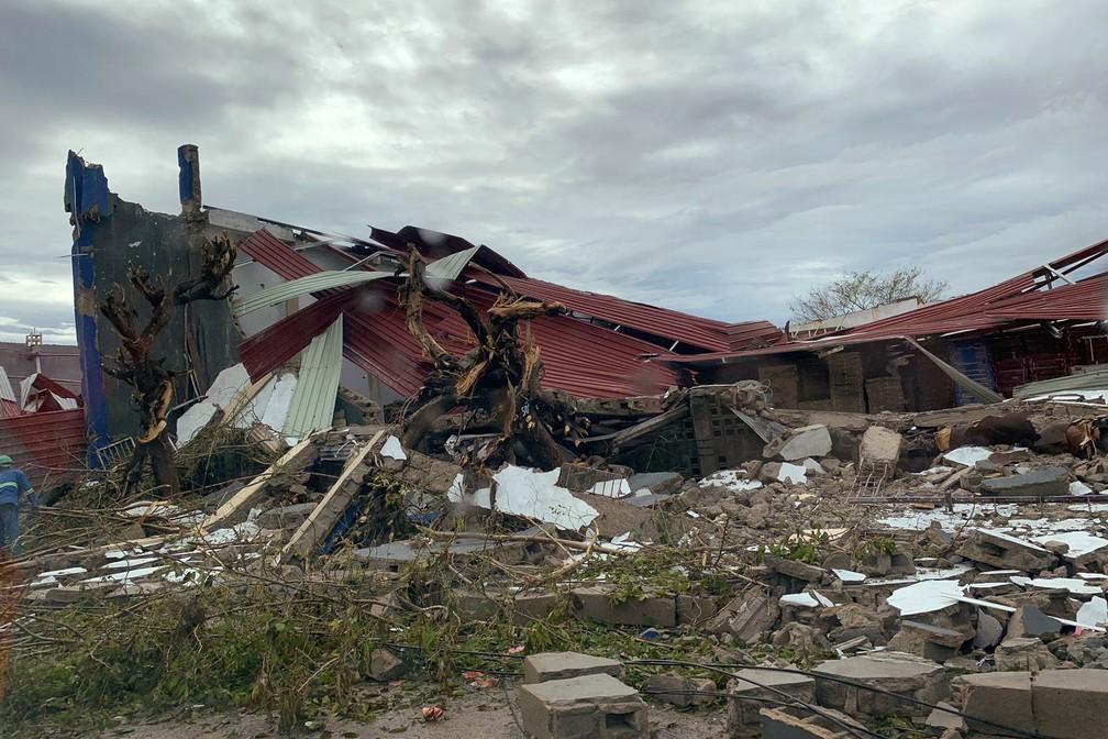 Cidade de Beira, em Moçambique, após a passagem do ciclone Idai — Foto: Déborah Nguyen/WFP/AFP