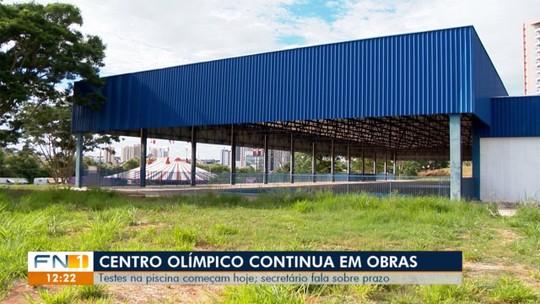Praticamente pronta, piscina principal do Centro Olímpico recebe teste de vedação