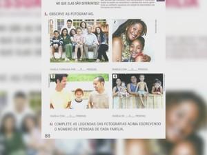 Livros escolares têm foto do 1° casal gay a adotar uma criança no Brasil (Foto: Rede Amazônica/ Reprodução)