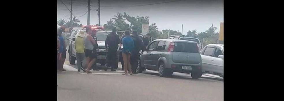 PM foi morto a tiros em tentativa de assalto na Praia do Meio, Zona Leste de Natal — Foto: Reprodução/Vídeo