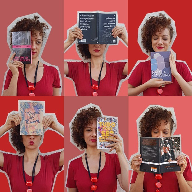 Adriana Ferreira: desafio de ler somente mulheres durante um ano (Foto: Arte: Camila Ribeiro / Foto: Vânia Goy )