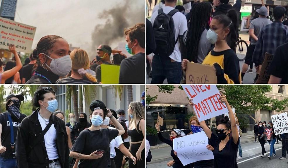 Em sentido horário: Ariana Grande, Tinashe, Halsey com Yungblud e Kehlani em protestos de rua nos EUA após a morte de George Floyd — Foto: Reprodução / Twitter