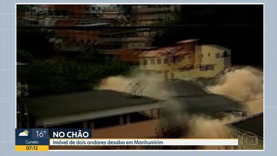Imóvel de dois andares desaba em Manhumirim, na Zona da Mata, em Minas Gerais