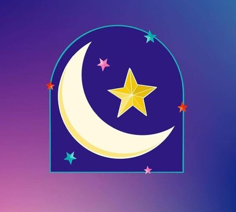 Figurinha do Instagram: lua crescente e estrelas — Foto: Hala AlAbbasi/Reprodução/Instagram