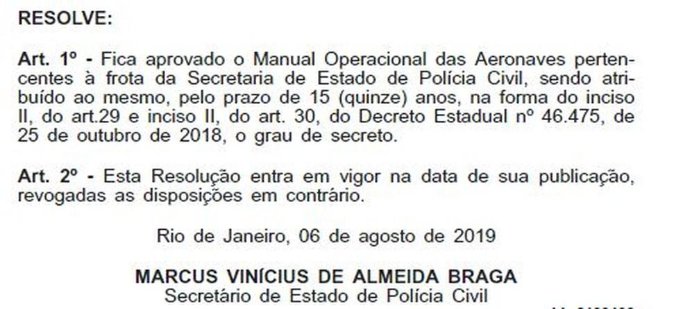 Publicação no Diário Oficial do estado registra criação do manual e sigilo imposto — Foto: Reprodução Diário Oficial