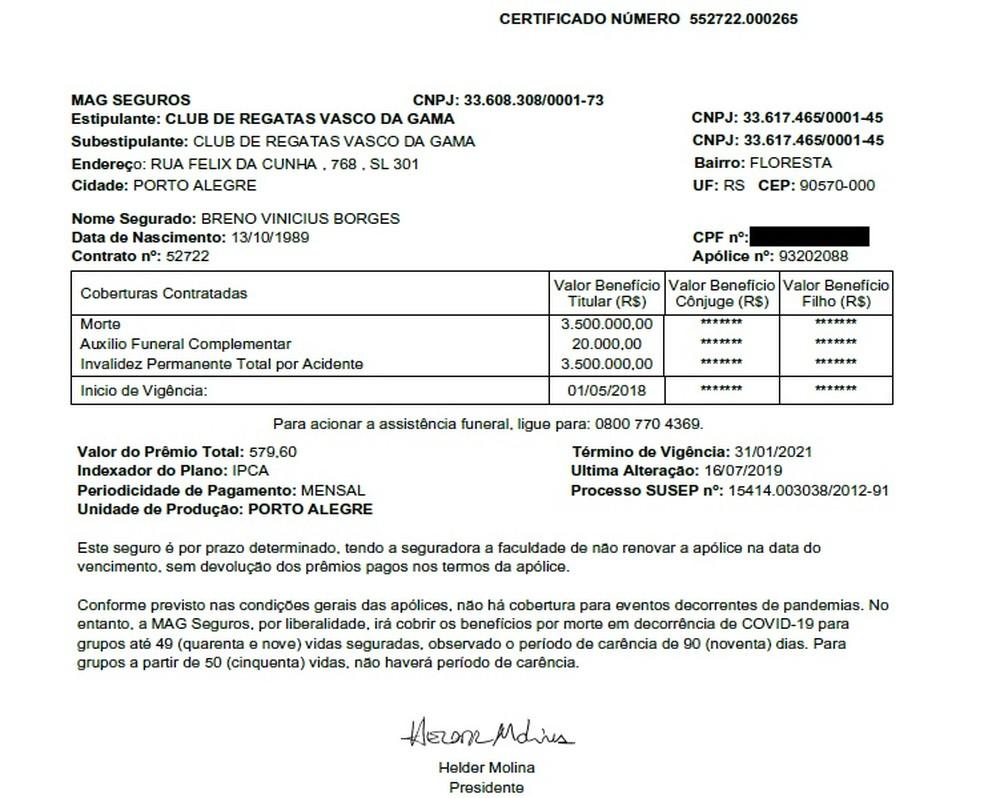 Cópia do seguro contratado pelo Vasco a Breno — Foto: Reprodução