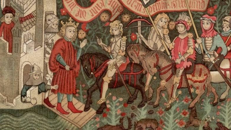 Ilustração que mostra Charles VII recebendo Joana d'Arc no Castelo de Chinon, em 1429 (Foto: Reprodução)