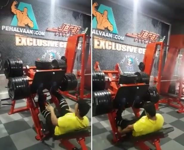 Homem quebra perna ao pôr carga excessiva em exercício