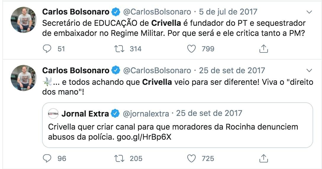 Carlos Bolsonaro critica então secretário de Educação do Rio, César Benjamin