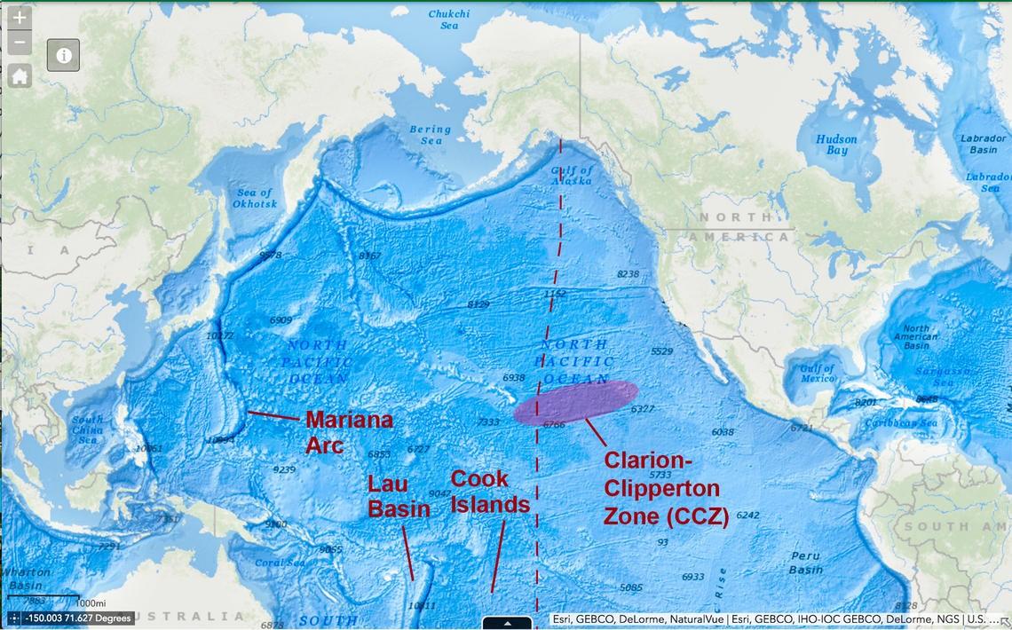 Zona de Fratura Clarion-Clipperton está ameaçada por projetos de mineração.  (Foto: USGS)