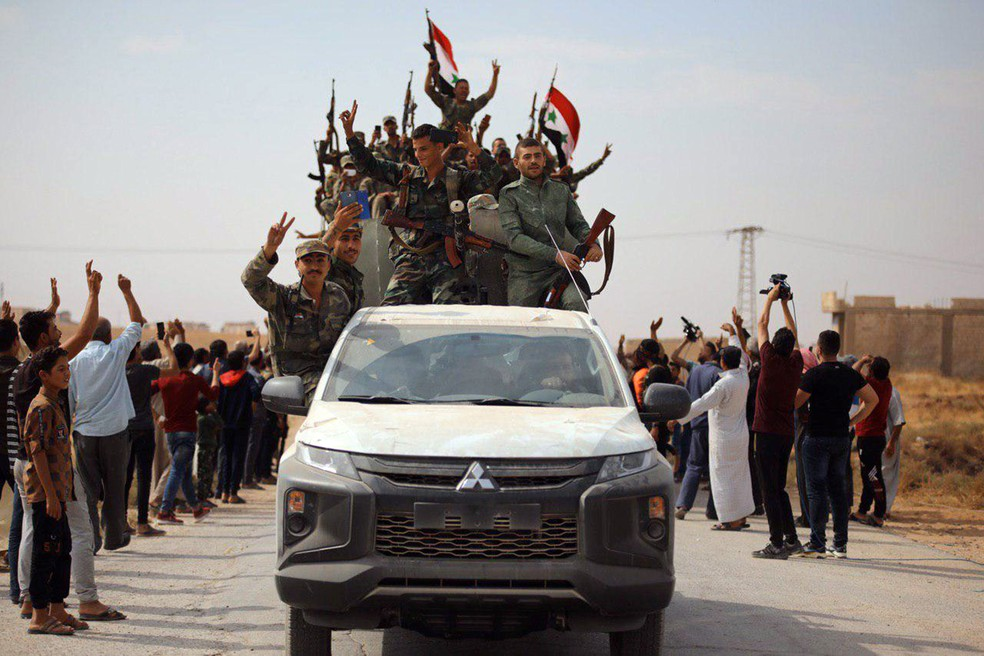 Syrian military arrives in Ain Issa city, October 14, 2019 - Photo: Press Release / Sana / Reuters