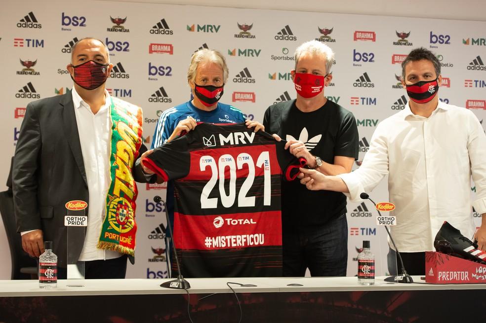 Jorge Jesus teve a renovação com om Flamengo anunciada no dia 5 de junho — Foto: Alexandre Vidal / Flamengo