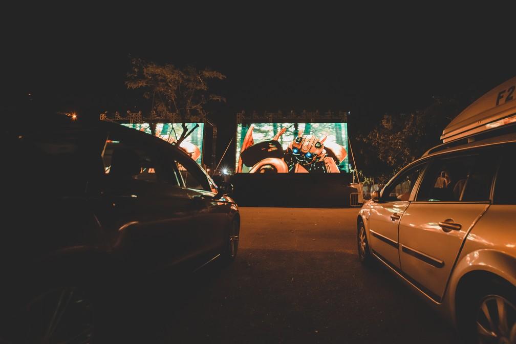 Drive-in na Lagoa, na Zona Sul do Rio, tem transmissão de filmes neste fim de semana  — Foto: Felipe Molina/Drive-in Rio Lagoa