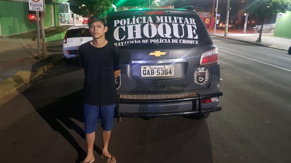 Evaldo foi preso pelo Batalhão de Choque da PM de MS — Foto: BPChoque/TV Morena