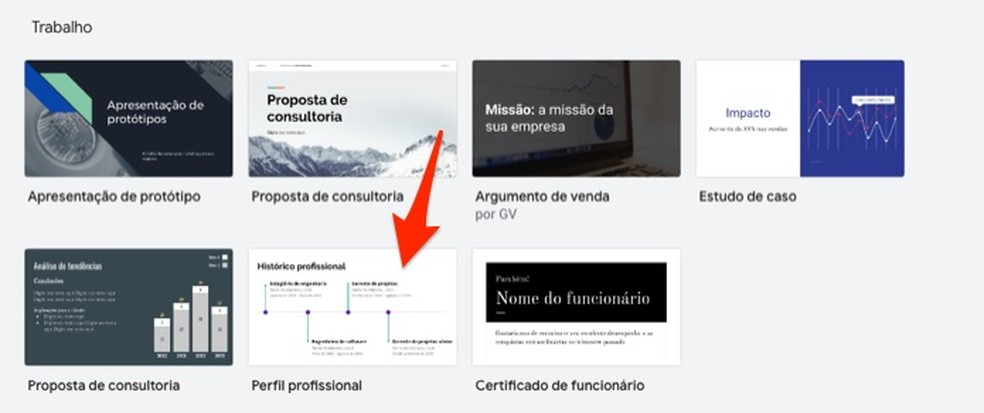 Ação para abrir um modelo editável de perfil profissional no Google Forms — Foto: Reprodução/Marvin Costa