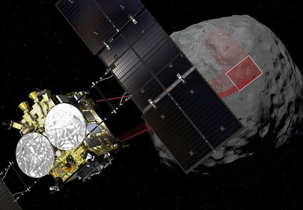 Sonda japonesa pousa em asteroide a 300 milhões de km da Terra (Foto: Divulgação)