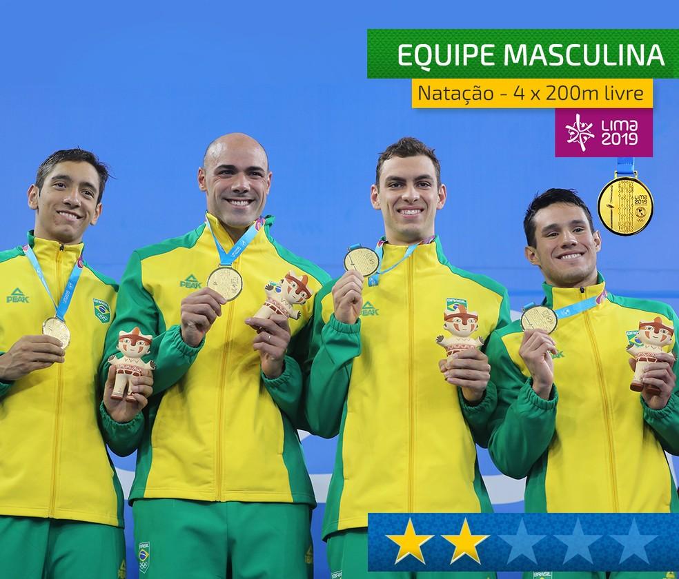 Equipe do 4x200m livre masculino da natação — Foto: Arte GloboEsporte.com