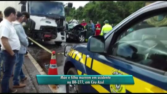 Mãe e filha morrem em acidente envolvendo três veículos na BR-277; VÍDEO