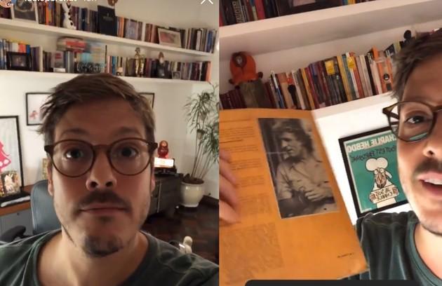 Fabio Porchat mostra seu apartamento no Rio: prateleiras cheias de livros (Foto: Reprodução)