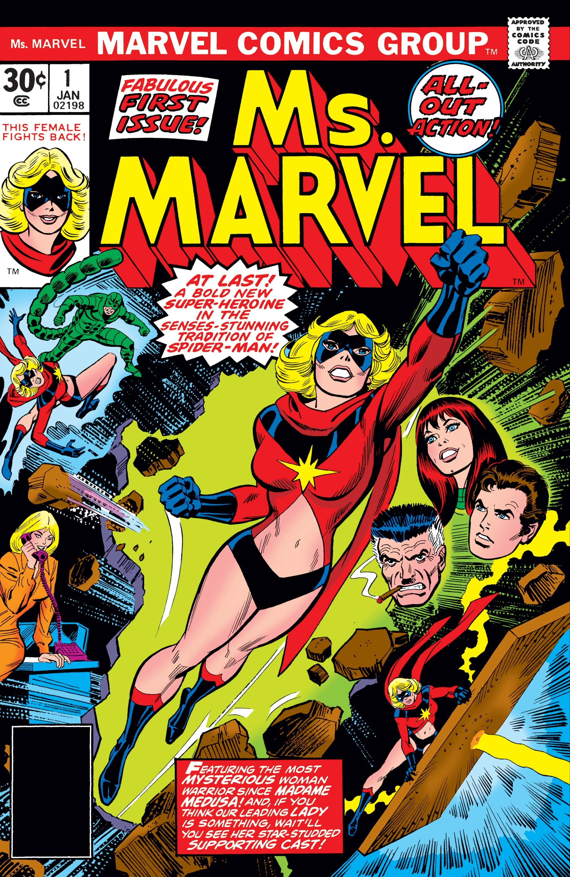 No fim dos anos 1970, Carol Danvers assume o papel de Ms. Marvel (Foto: John Romita/Marvel)