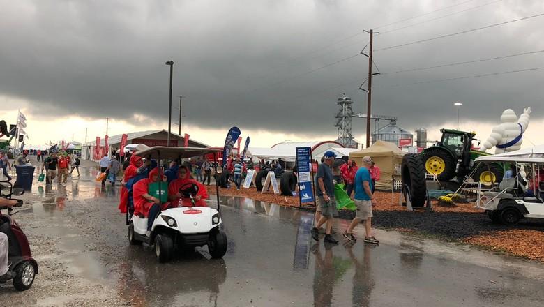 Tempestade atinge Farm Progress Show, que acontece em Boone, EUA (Foto: Cassiano Ribeiro/ Ed. Globo)