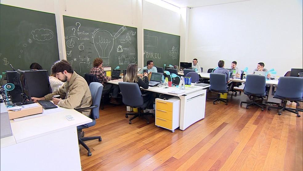 Espaço de 'coworking' — Foto: Reprodução/ TV Globo