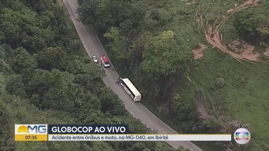 Acidente entre ônibus e motocicleta deixa uma pessoa morta na Grande BH