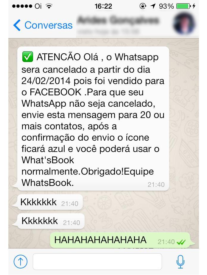 Corrente falsa está rolando no WhatsApp (Foto: Reprodução/Thiago Barros)