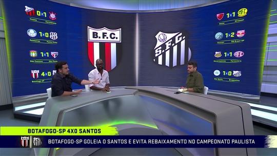 """Com time reserva, Santos leva goleada do Botafogo-SP e Eric Faria fala: """"Surpreendente"""""""