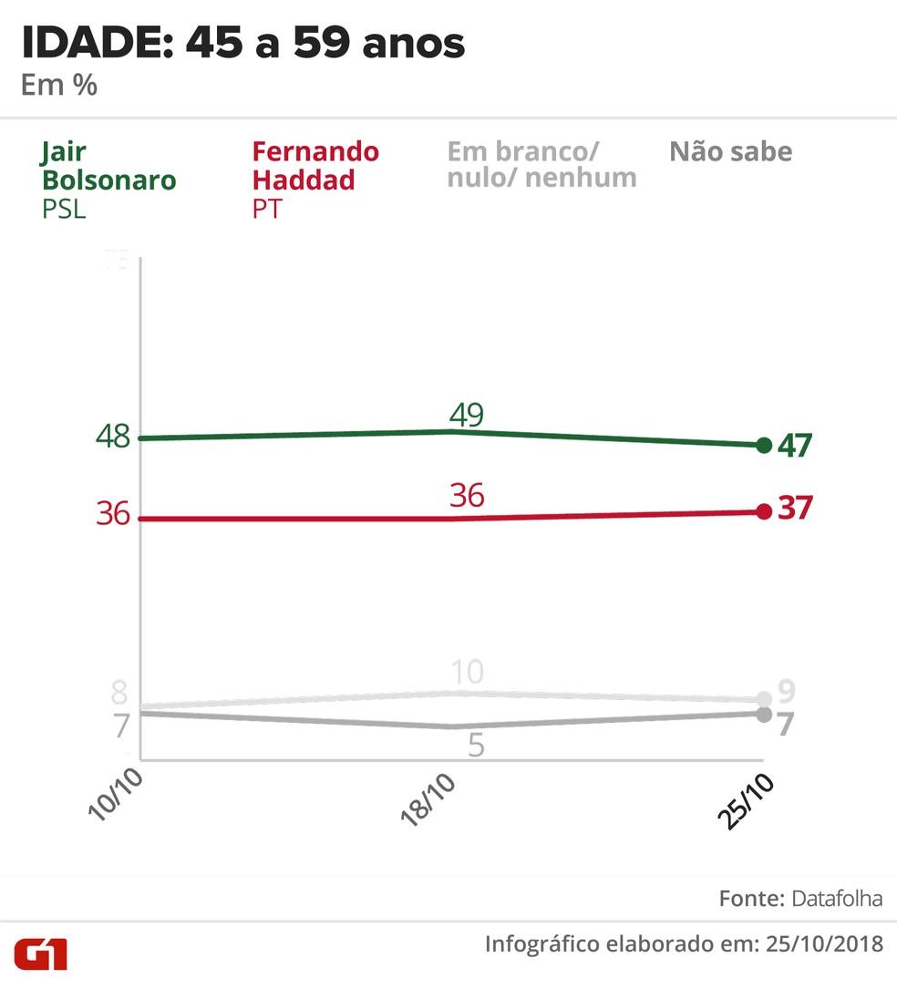 Pesquisa Datafolha - 25 de outubro - intenção de voto por segmentos - idade: 45 a 59 anos — Foto: Arte/G1