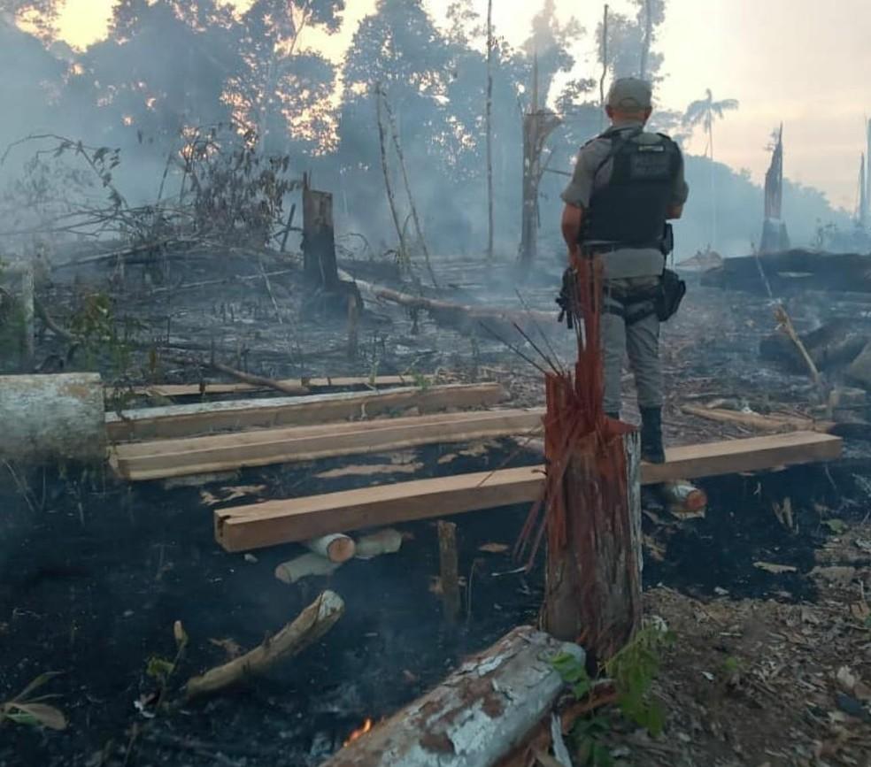 Polícia flagra desmatamento e queimada em áreas com cerca de 16 hectares no interior do AC — Foto: Arquivo/PM-AC