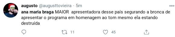 Internautas comentam força de Ana Maria Braga em homenagem a Tom Veiga (Foto: Reprodução)