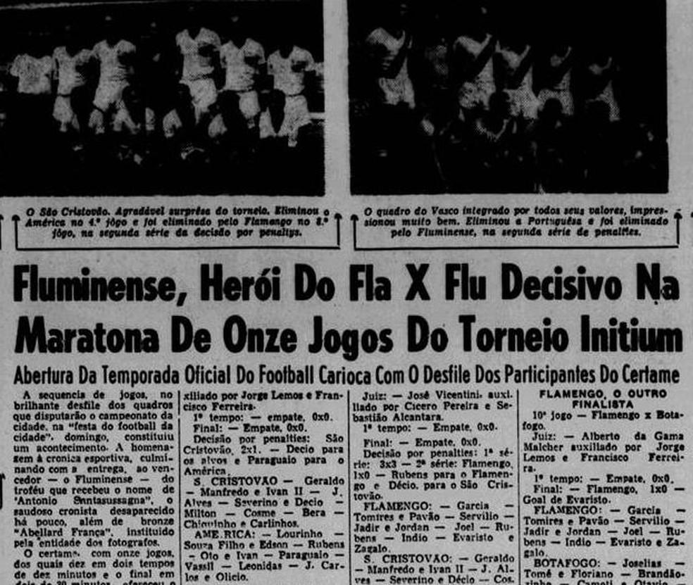 """""""Jornal dos Sports"""" destaca mais um Torneio Início do Flu em 17/08/1954 — Foto: Reprodução / Jornal dos Sports"""