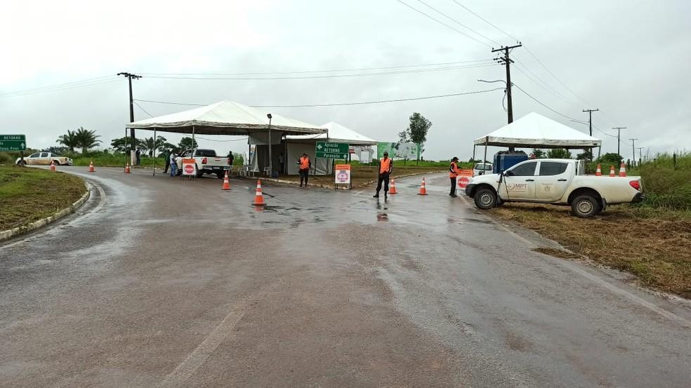 Barreira sanitária é feita em Paranaíta — Foto: Prefeitura de Paranaíta