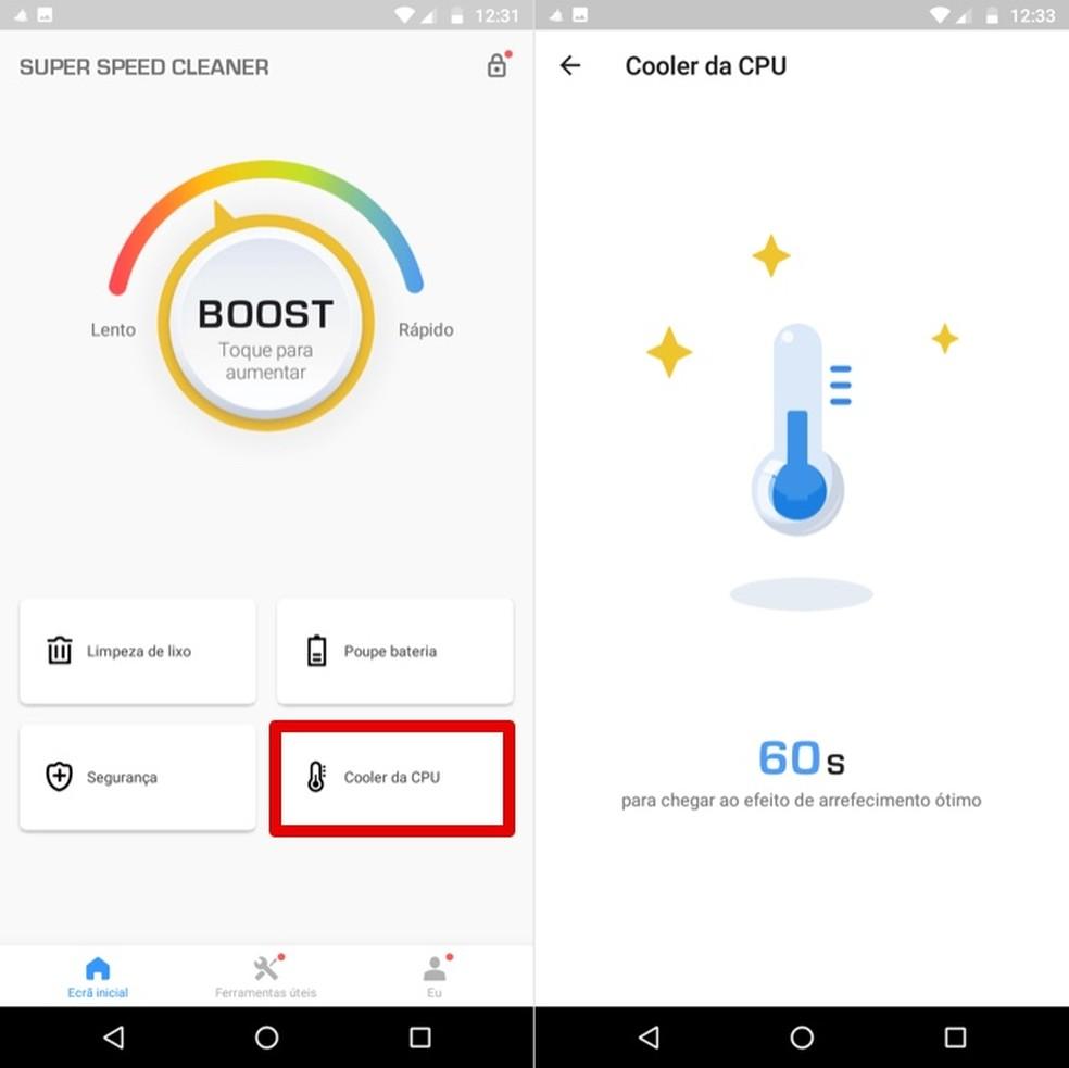 Diminua a temperatura do celular com o app Super Speed Cleaner — Foto: Reprodução/Helito Beggiora