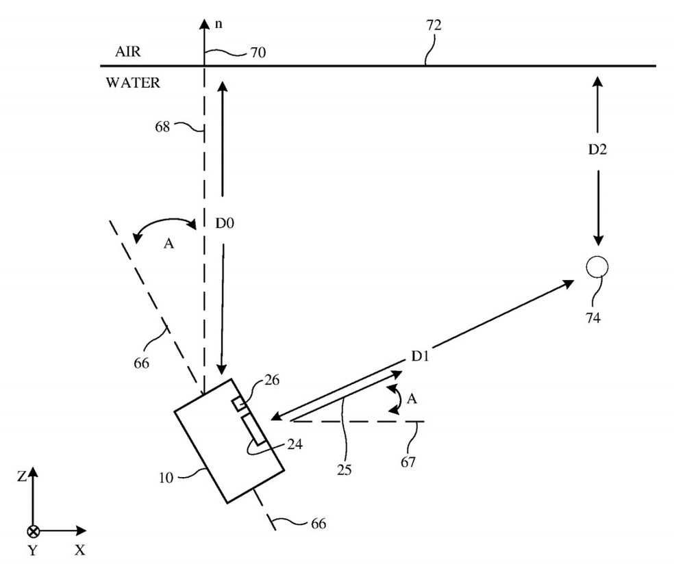 Patente registrada pode vir a ser um iPhone com maior qualidade nas fotos tiradas debaixo d'água — Foto: Reprodução/Apple Insider