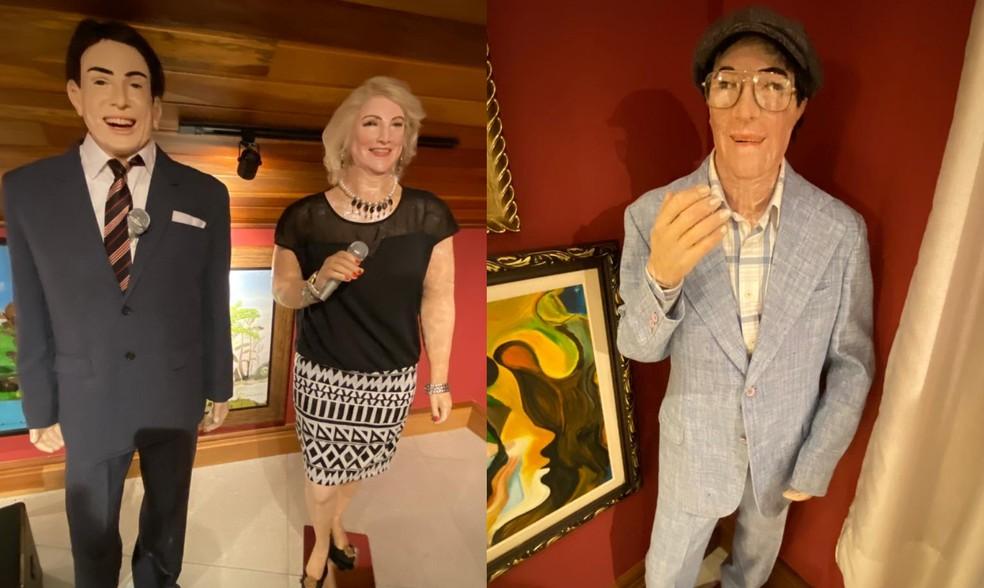 Estátuas de cera de Silvio Santos, Hebe e Chico Xavier  — Foto: Arlindo Armacollo/Arquivo pessoal