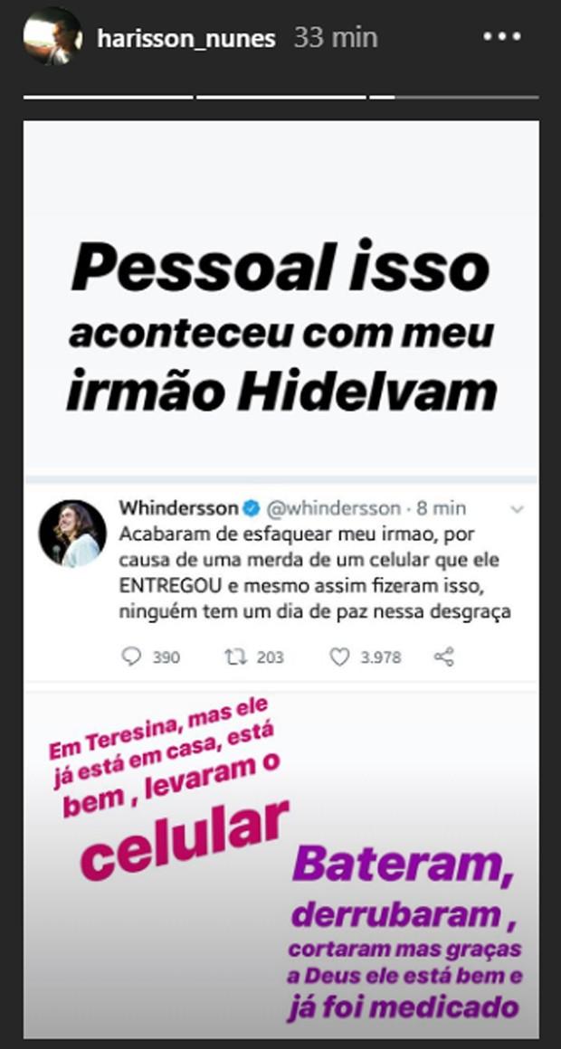 Harissom Nunes, irmão de Whindersson, fala de assalto e ataque ao irmão Hidelvan (Foto: Reprodução/Instagram)