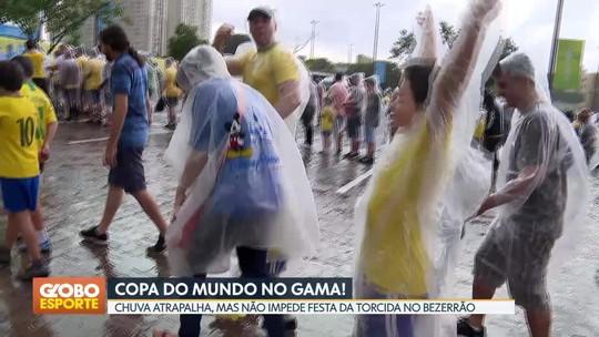 Mesmo com temporal, torcida comparece para ver a goleada do Brasil sobre o Canadá