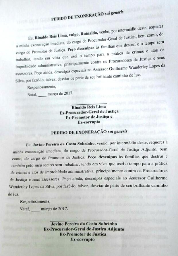 Ministério Público do RN divulga carta do atirador Guilherme Lopes (Foto: Divulgação/MPRN)
