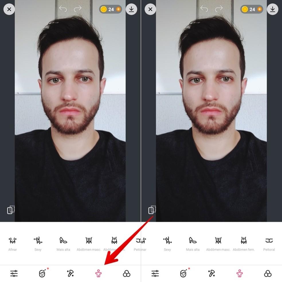 Realizando ajustes em fotos de corpo inteiro — Foto: Reprodução/Helito Beggiora