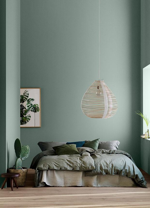 Décor do dia: quarto em tons de verde e texturas naturais (Foto: Divulgação)