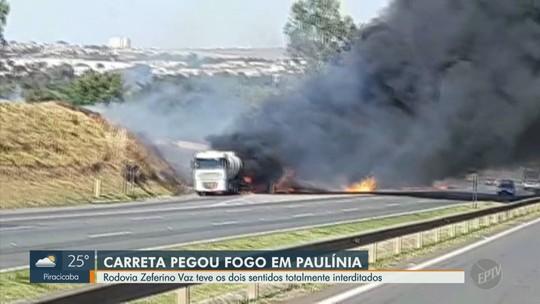 Caminhão-tanque carregado com etanol pega fogo e interdita trecho da Rodovia Zeferino Vaz em Paulínia