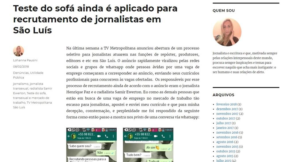 Transexual Lohanna Pausini denunciou primeiro o caso em seu blog pessoal — Foto: Reprodução/Blog Lohanna Pausini