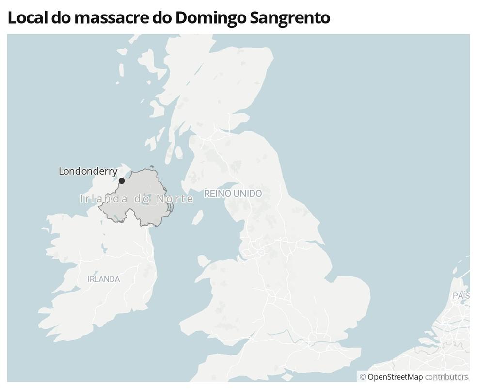 Mapa mostra a localização de Londonderry — Foto:  G1
