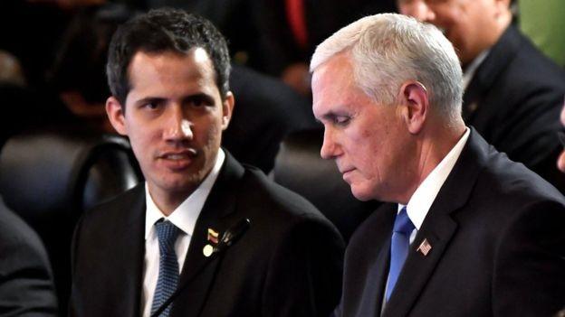Quando questionado se permitiria intervenção militar, Guaidó não descarta opção (Foto: Getty Images via BBC News)