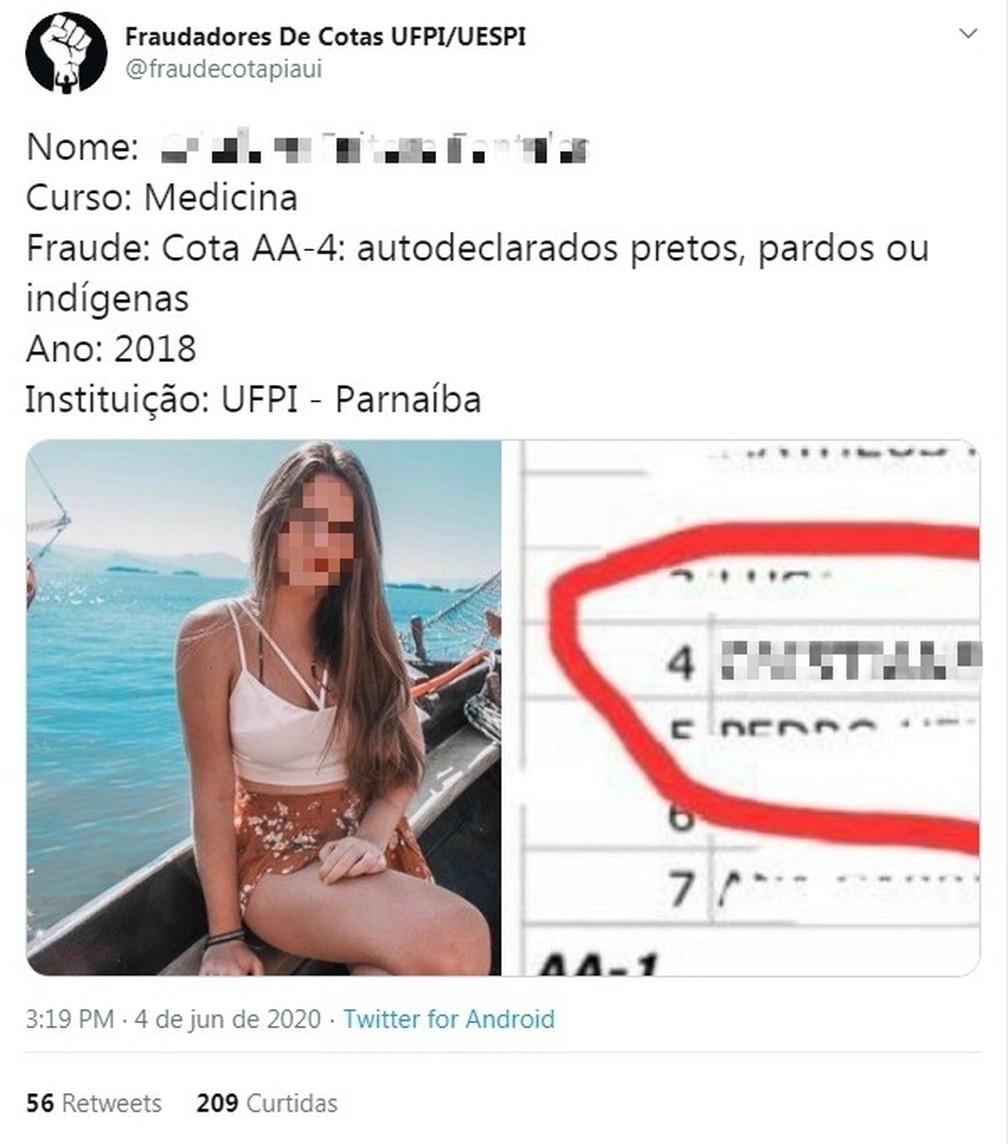 Perfil denunciou cerca de 10 possíveis fraudes no sistema de cotas da UFPI — Foto: Reprodução/Twitter