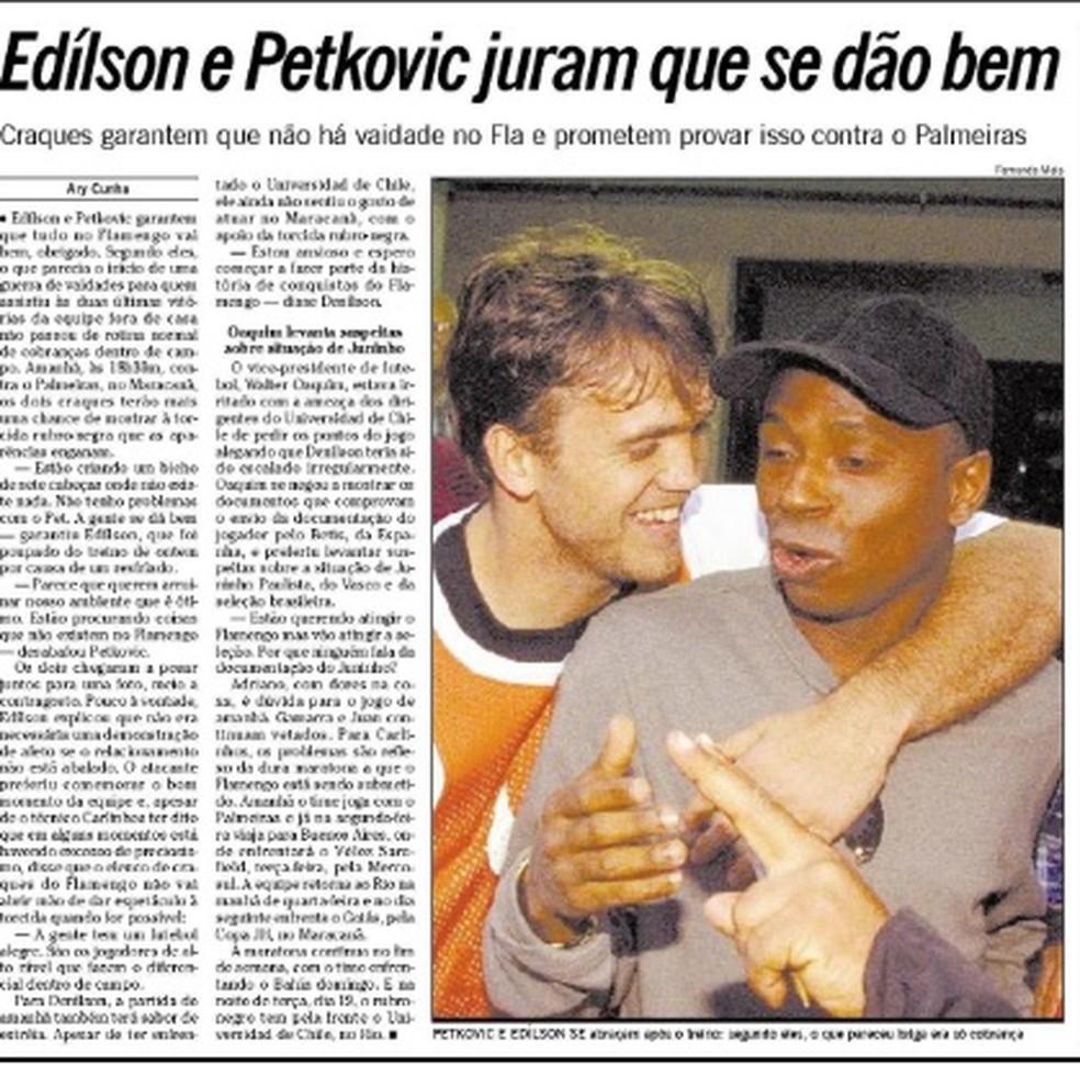 Matéria do jornal O Globo sobre a dupla Petkovic e Edílson — Foto: Reprodução